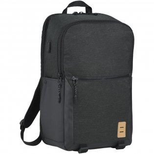 """Features a hidden RFID pocket, a check-in friendly 17"""" laptop compartment, and an organizational zippered front pocket. Printed interior lining, interchangeable zipper pullers, a vinyl lash tab, and a trolley sleeve. Comes with high quality padded compression straps for guaranteed comfort, and has two adjustable water bottle pockets, as well as a USB port and cable for easy charging on the go."""