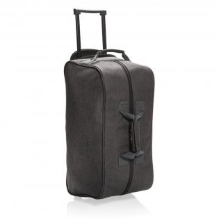 Wochenendtasche aus 600D Polyester mit ausziehbarem Trolley-System. Eine Fronttasche und ein großes Hauptfach.