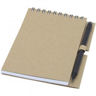 Gerecycled wire-O notitieboek met papieren kaft met 40 vellen, 80 g/m² blanco FSC gerecycled papier, en een zwart potlood. Het notitieboekje is gemaakt in Italië.