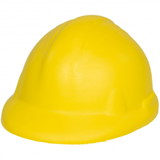 Een ant stress item in de vorm van een bouwvakkershelm.