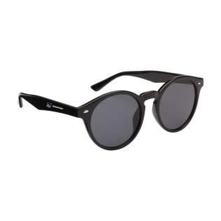 Lunettes de soleil avec une monture ronde tendance et des verres noirs. Offrent une protection UV 400 (selon les normes européennes).