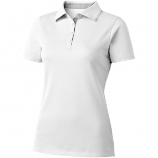 Flat knit collar. Embossed tipping. Poplin inside collar stand and cuffs. Four button placket. Side slits. Dyed-to-match engraved buttons. Heat transfer main label for tagless comfort.