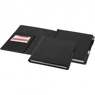 Basic design portfolio with a pen loop and organisational panel on the left inside to keep business cards. Includes a 94 page lined paper notebook. Packed in an Avenue gift box.