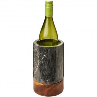 Weinkühler aus von Hand gemeißeltem Marmor und hochwertigem Akazienholz.