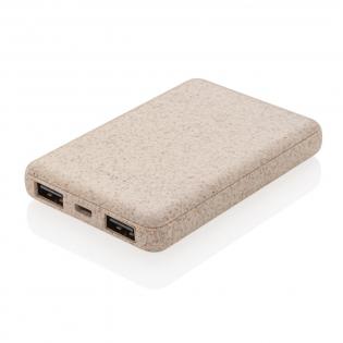 Ultrakompakte 5.000 mAh Powerbank hergestellt aus einem Mix aus ABS und Weizenfasern ( 35%) die perfekt in Ihre Tasche passt. Ist die 5.000 mAh High-Density A-Grade Lithium Polymer Batterie voll geladen können Sie Ihr Smartphone hiermit bis zu 3 mal wieder aufladen. Mit Dual-USB-Port und Ladestandsanzeige. Input 5V/2A.; Output USB 1: 5V/2A.; Output USB 2: 5V/1A.