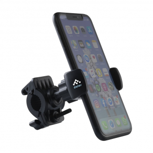 Universal, adjustable phone holder made of sturdy ABS plastic. Easy to attach to the handlebars or the crossbar. This allows you to easily use your smartphone hands-free while cycling. Suitable for all phones up to a maximum width of 8.8 cm. Each piece in a box.