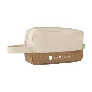Toilettas van natuurlijke materialen: organisch canvas en kurk. Met rits, handige draaglus en gevoerd met waterdicht PEVA.