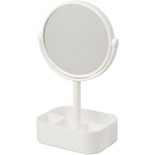 Double sided revolvable mirror with organiser base. Once rotated the mirror gives a 2x magnified view.