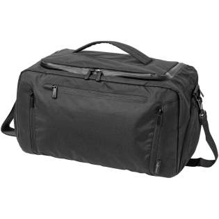Deluxe travel duffel bag with rear zipped tablet pocket to travel in style. The front zippers allow you to pack your cables or additional clothes in separate compartments. Includes a removable shoulder strap and two side zipped compartments, one for your shoes and another for additional quick-access storage. Large U-shaped opening for easy access along with two additional interior pockets. Exclusive design from Marksman.