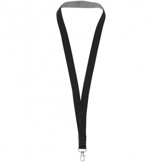 Aru dual-tone lanyard with hook & loop closure. Two-tone colour design lanyard with silver back. Holds a name badge, ID card, or keys. Velcro breakaway closure eliminates choking hazards. Second location setup charge waived if both sides decorated with same artwork. Run charges still apply. Polyester.