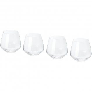 4-piece glass tumbler set. Versatile glass tumblers with rounded bowls. Tumbler size: height 9 cm, diameter 9.5 cm.