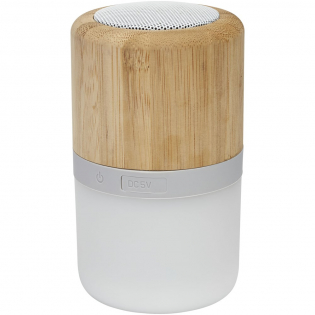De bamboe Bluetooth® 350 mAh speaker met licht is een kleine speaker met een geweldige geluidskwaliteit in combinatie met een licht dat oplicht wanneer muziek wordt afgespeeld. Biedt tot 2 uur gebruik bij maximaal volume. Bluetooth® versie 5.0 met werkbereik tot 10 meter. Geleverd in Avenue-geschenkverpakking en voorzien van Micro USB-oplaadkabel.