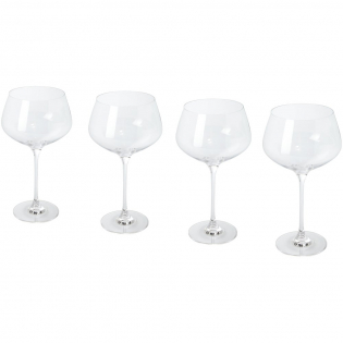 4-piece gin glass set. Versatile gin glasses with rounded bowls. Glass size: height 23.30 cm, diameter 12.80 cm.