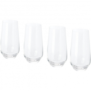 4-piece highball glass set. Modern highball glasses with fine walls and flat, rounded bases. Glass size: height 15.5 cm, diameter 8 cm.