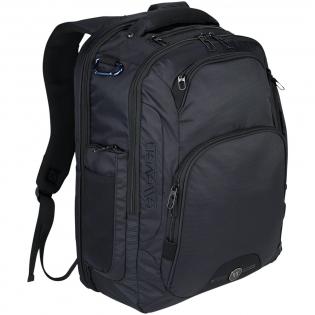 """17"""" Computer Rucksack mit gepolstertem Laptopfach hinten. Das Hauptfach bietet eine Trennwand und ein separates Tabletfach. Der Rucksack bietet ein Reißverschlussfach oben, ausgekleidet mit Nylex für ein Smartphone, ein spezielles RFID Fach auf der Vorderseite, seitliche Reißverschlusstaschen, duale Seitentaschen aus Netz für Wasserflaschen, eine Trolley Befestigung und versteckte Netztaschen auf dem Schultergurt für Ihre Telefon oder Ihren Ausweis. Der Tragegriff, die Rückseite und der verstellbare Schultergurt sind mit Neopren gepolstert."""