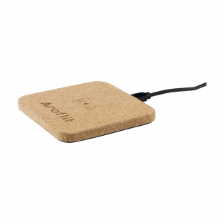 10W Wireless charger made from natural cork. Features an indicator light. Compatible with all QI devices such as the latest generation of Android, iPhone 8 and above. Input: 5V/2A. Output: 5/2A-10W. Includes a 120 cm PVC-free TPE micro-USB charging cable and user manual. Each item is supplied in an individual brown cardboard box.