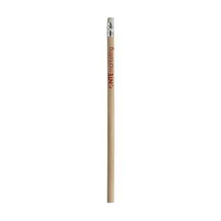 Ongeslepen, houten (HB) potlood met gum. Ongelakt.