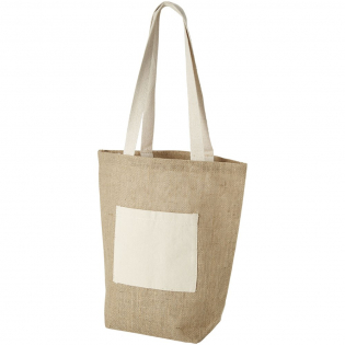 Jute shopper bag with open main compartment and small front pocket. Drop down length of the handles is 31 cm.