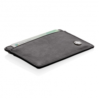 Premium PU leather cardholder with 3 shielded anti-skimming card slots with room for 8 cards. Separate middle pocket for cash and coins.