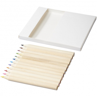 12 coloured pencils and 10 doodle cards. Decoration not available on components.