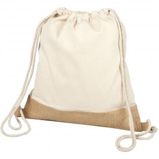 Großes Hauptfach mit Kordelzugverschluss aus Baumwolle. Jute-Details. Beständigkeit bis zu 5 kg.