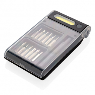 Tool set with 12 separate bits packed in unique case with integrated COB light ( 90 lumen) the COB light can be used to illuminate close by areas. Including batteries for direct use. ABS material casing.