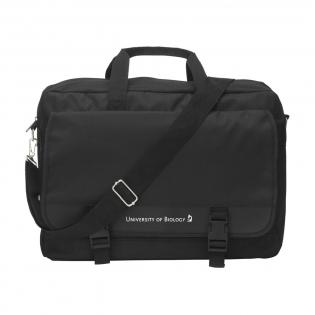 Shoulder/document bag made of 600D polyester with a range of pockets and adjustable/detachable shoulder strap.