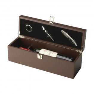 Cassette en bois avec stop-gouttes, bouchon et ouvre-bouteille en acier inoxydable. Vin exclu. Ensemble dans une boîte.