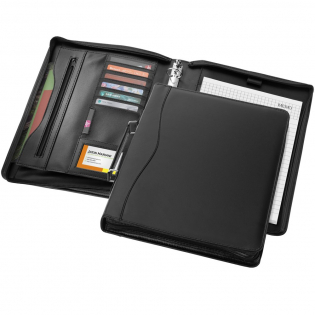 Portfolio with handle, zipper closure, ring binder, zipper pocket and document compartments. Includes 20 pages lined notepad. Pen and accessoires not included.