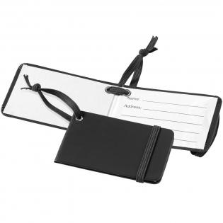 Étiquette d'identification de voyage avec fermeture élastique et bande élastique assorties. Une carte d'identification intérieure fournit le nom, l'adresse, le téléphone et l'e-mail.