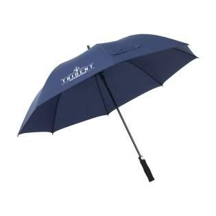 Regenschirm aus 190T RPET-Pongee (hergestellt aus recycelten PET-Flaschen) mit einem extra großen Schirmdurchmesser von 132 cm (30 Zoll). Mit automatischer Teleskopöffnung, Fiberglasrahmen und -schaft, Griff aus Weichschaum und Klettverschluss. Wasserabweisend.