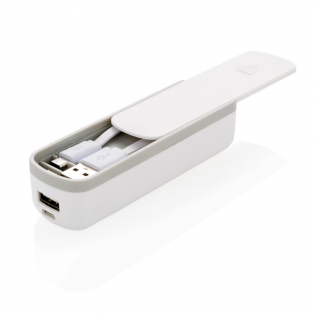 Powerbank with special compartment to store your micro USB cable. In this way you will never forget your cable to charge your powerbank or Android device.  2.200 mAh capacity Output: 5V/1A, input 5V/1A. Including micro USB cable.