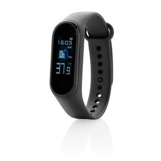 Gardez toujours un œil sur votre température corporelle et votre état de santé général avec ce bracelet connecté. Capteur de température corporelle intégré (Tolérance de 0,2 degré). Ecran couleur TFT 0'96. Fonctions: BT 4.2, IP67 étanche, appel / message entrant, chronomètre, mode multisports, calories brûlées, nombre de pas et moniteur de sommeil. Bracelet en TPU souple pour un confort optimum. Batterie de classe A de 90 mah qui permet une autonomie en veille jusqu'à 5 jours.