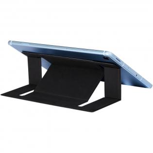 Support pliable pour ordinateur portable permettant de maintenir l'ordinateur dans une position confortable et favorisant la dissipation de la chaleur. Le support peut supporter jusqu'à 2 kg et peut être réglé dans 2 directions différentes. Emballé dans une enveloppe.