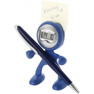 Wecker, Memohalter, Stifthalter und Handyhalter in flexiblem Material, das ein Ändern der Form des Artikels ermöglicht. Inkl. Batterie.