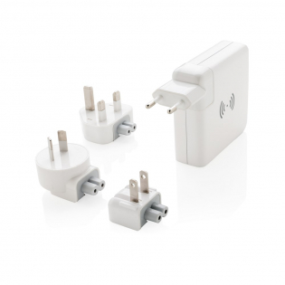 Unique design travel adapter that allows you to charge wherever you go in the world. Simply attach the correct plug fitting included to plug into the wall socket at your destination or at home. The adapter is unique because it can be used at home to charge your mobile devices but can also be taken away with you as a powerbank. The travel adapter has 3 USB ports and one type C port with a total output of 4.2A. The powerbank has a capacity of 6.700 mAh which is enough to charge your mobile device 3 times on the go. When connected the powerbank will automatically be charged. The output via wireless charging is 5V/1A 5W. The charger comes with 4 plugs: EU, UK, USA and Australia and a microfibre pouch to take them on your travels. Input: AC 100-240V 50/60HZ, Output: 5V/4.2A.