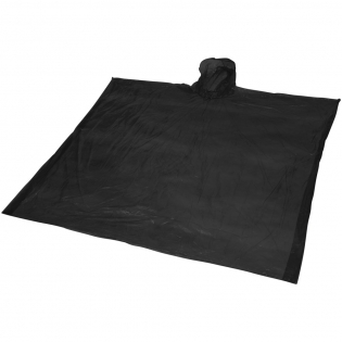 Poncho (90x120 cm.) with hood in resealable pouch. Decoration on pouch only.