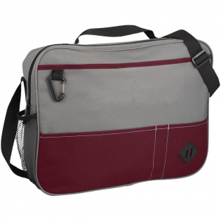 Conference style briefcase with zipped main compartment. Includes large front pouch for pamphlets or flyers and carabiner for your keys. Pockets along the front of this bag provide space for pens and business cards. Side mesh water bottle pocket. Top grab handle plus adjustable shoulder strap for improved fit and comfort.