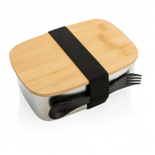 Enjoy a healthy, hassle-free lunch on the go with the sleek looking stainless steel lunchbox with bamboo lid. Includes a handy elastic strap and spork. The lunchbox cannot be put into the microwave and oven. Handwash only. Capacity 1.5 litre.
