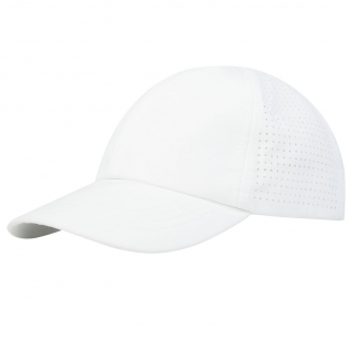 Sustainable promotional headwear. Pre-curved visor. Back panels with laser cutting holes for ventilation. Metal buckle closure.