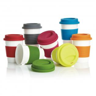 Uiterst duurzame mok met siliconen grip en deksel. Gemaakt van 100% plantaardig materiaal (PLA). BPA-vrij. Inhoud 350 ml.