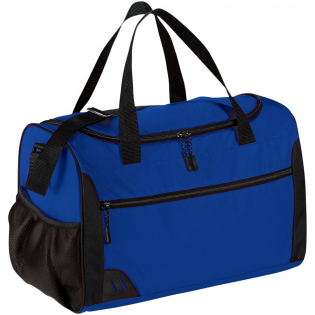 Duffel bag ideal for sport or travel with bottom board for greater support. Large U-shaped compartment provides plenty of room for gym wear or overnight items. Includes wide front pocket and side pocket for your accessories. Grab handle and adjustable shoulder strap for improved fit. PVC free.