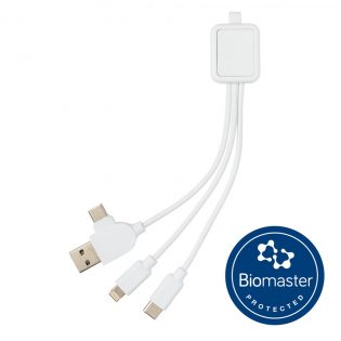Multi charging cable made from ABS and PVC free TPE that is treated with Biomaster, an Anti-Microbial agent that provides a second line of defence against harmful bacteria. It is IN the product, not ON the product which will give you permanent protection. This product has been tested in accordance with ISO 22196 for Anti-Microbial effectiveness and is 100% safe and harmless for users. Biomaster does not affect the recyclability of the item. The product also includes Verimaster a unique tracer that is built into the material to prove that the item is treated with Biomaster, unlike many products in the market that make antimicrobial claims that are counterfeit. The cable has a type C and USB A input and Type C  and double sided IOS/Android plug to make this cable suitable to charge any device in the market from any power source. Packed in luxury gift box including Biomaster explanation.
