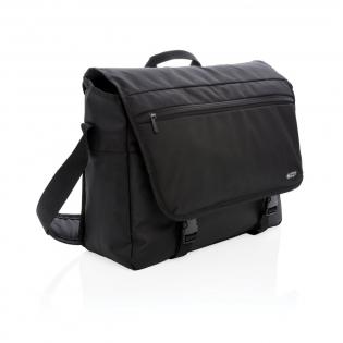 Sacoche pour ordinateur portable 15'' en polyester 600D et 1680D avec compartiment rembourré, bandoulière ajustable et passant à bagage. Poche frontale à fermeture à zip et protection anti RFID. Sans PVC.