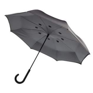 """Parapluie réversible 23"""" en 190T pongé avec ouverture manuelle et fermeture automatique. Structure résistant au vent grâce à son armature et baleines en fibre de verre."""
