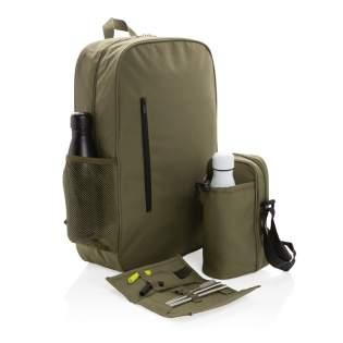 Houd je handen vrij en je spullen koud. De Tierra-rugzak is ontworpen met het oog op maximale draagbaarheid. Geweldig om mee te nemen voor wandelingen en voor picknicks. De rugzak biedt plaats aan 12 blikjes of 8 blikjes en 2 wijnflessen. Een voorvak met ritssluiting voor uw sleutels en andere accessoires. Buitenkant 100% 600D polyester, binnenkant 210D polyester en PEVA. PVC-vrij.