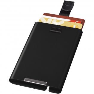 Porte-carte en aluminium protégeant vos cartes contre les dommages, les bris et le vol d'identité. Utilisez simplement les cartes à l'aide du cordon. Contient jusqu&apos,à 9 cartes. Présenté dans une boîte cadeau.