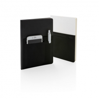 A5 notebook with 160 cream coloured lined pages of 80g/m2 paper inside. Front cover has a flexible phone pocket, pen pocket and larger sleeve pocket for documents. Phone pocket is 8cm wide which fits iPhone 7 plus.