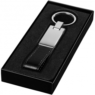 Silver-plated key chain in black gift box.