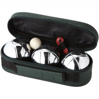 Boulespiel mit 3 Metallkugeln, Zielkugel aus Holz und Entfernungsmesser in einer Aufbewahrungstasche.